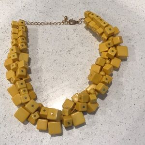 Yellow block statement necklace